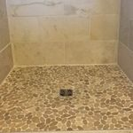 Sliced Java Tan Pebble Tile - Pebble Tile Shop Master Bath Remodel, Bathroom Flooring, Interior And Exterior, Pebble Tile, Flooring, Bathroom Makeover, Tan Bathroom, Pebbles, Pebble Tile Shower
