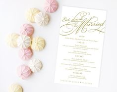 "Custom Wedding Menu: ""Eat Drink and Be Married"" Available as Printed Cards or as A Custom DIY Printable Design - Custom Reception Stationery from The Inked Leaf"