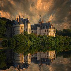 French castle disney love. Forest castle in Bavaria Alcala del Jucar
