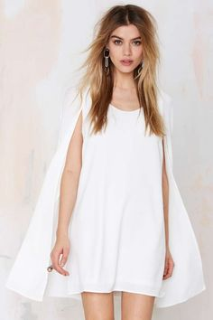 Nasty Gal Catherine Cape Dress - Ivory - Going Out | Shift | Solid | Dresses | Dresses | Clothes | All | All | Clothes | Dresses | Dresses | LWD