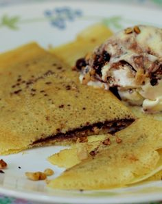 Inspired by Dome Cafe's Nutella crepes, my home version is served with a scoop of ice cream and lots of chopped nuts. Serve as snack or dessert.