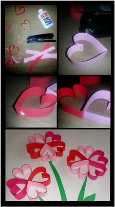 Paper heart flowers Toddler Time Tips @ https://www.facebook.com/toddlertimetips