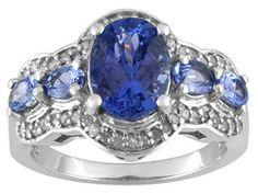 2.97ctw Oval Kutamani Tanzanite(Tm) With .23ctw Round White Diamond Sterling Silver 5-stone Ring