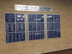 Our latest installation at Notre Dame Academy in Toledo, OH.   From the first meeting to the dedication ceremony and beyond, our mission is simple: we listen to your needs, share our knowledge and create donor walls or a recognition award your program requires.