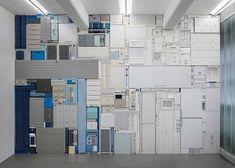 Michael Johansson blue and white tetris installation  Yellowtrace
