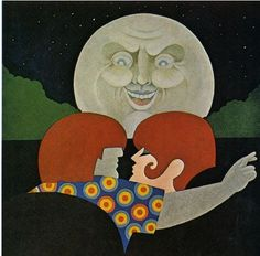 Illustration by John Alcorn (b. 1935), Red Book. #Moon #Kiss