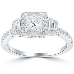 1.40 Ct. D-VS1 Princess Cut Diamond Engagement Ring 18k White Gold Vintage Style - Thumbnail 1