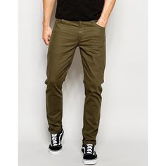 ASOS Skinny Jeans In Khaki (€36) via Polyvore featuring men's fashion, men's clothing, men's jeans, green, mens super skinny jeans, mens green skinny jeans, tall mens jeans, asos mens jeans et mens khaki skinny jeans