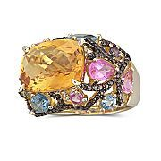 Citrine and multi-colored gem stone ring.
