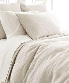 Pinstripe Linen Dove Grey Duvet Cover #blisshomeanddesign #bedding #bedroom