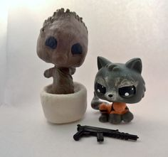 Baby Groot & Rocket Raccoon - Marvel Comics Guardians Galaxy - Super Hero Heroes - OOAK Custom LPS Littlest Pet Shop - Handmade Hand Painted