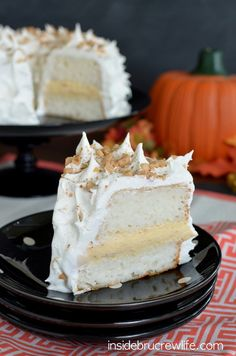 Pumpkin Toffee Angel Food Cake: no bake pumpkin toffee filling inside an angel food cake makes this recipe perfect for every fall occasion.