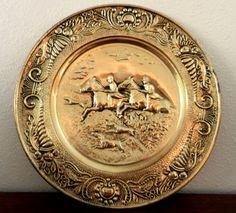 Vintage Hammered Brass Platter Equestrian by happenstanceNwhimsy, $15.00