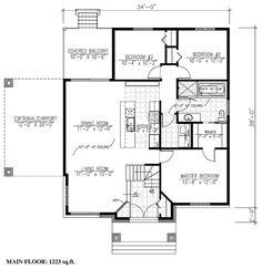House Plan 50334 - Contemporary Style House Plan with 1223 Sq Ft, 3 Bed, 1 Bath, 1 Car Garage Garage House Plans, Best House Plans, Country House Plans, Contemporary Style Homes, Contemporary House Plans, Bungalow, House Blueprints, Small House Design, Luxury Homes