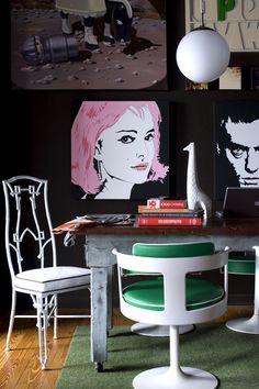 A Pop Art Salon Wall in the Dining Room. Interior Design by Brian Patrick Flynn.
