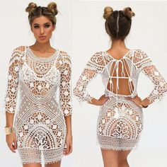 Attention! This Item Is See Through!!          It Does Not Include Undergarments As Shown On Models Crochet dress ha