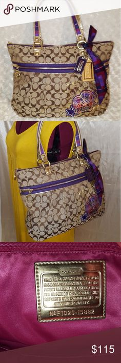 Coach Poppy Glam Tote Great preowned condition,  will edit with description later Coach Bags Shoulder Bags
