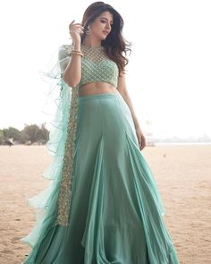 Sea green Lengha Choli Embellished with Embroidery on Choli with A Ruffle Dupatt. Indian Designer Outfits, Indian Outfits, Designer Dresses, Lehenga Gown, Lehenga Blouse, Lehenga Crop Top, Lehenga Designs, Salwar Designs, Crop Top Designs