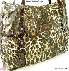 Guess G Logo XL Book Laptop Hand Bag Leopard Unleashed Brown Beige Tote $135 | eBay