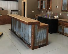 LARGE Rustic Barnwood Bar with barn tin— Dimensions Bars are tall in the back (working serving area), in the front (seating drinking area), Width base, 6 in overhang) Bar Lengths will vary depending on your specific needs see variat Rustic Kitchen Cabinets, Rustic Kitchen Design, Kitchen Decor, Kitchen Ideas, Primitive Kitchen, Rustic Design, Pallet Kitchen Island, Bar Cabinets, Rustic Bathroom Designs