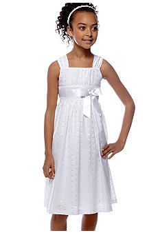00b1f57fb Girls Lace-Eyelet Empire-Waist Dresses | children clothes 2 | Flower girl  dresses, Jumpsuit dress, Eyelet dress