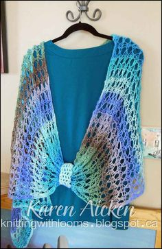 Knitting With Looms: Finished 'Waves of Lace' Shawl Loom Knitting Stitches, Spool Knitting, Knifty Knitter, Loom Knitting Projects, Loom Patterns, Crochet Patterns, Crochet Hooks, Knit Crochet, Loom Scarf