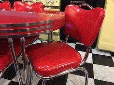 Oval Dinette Set with our exclusive Custom Groovy Insert Banding and matching handleback chairs - all done in Red Cracked Ice. Kitchen Dinette Sets, Chairs, Ice, Furniture, Home Decor, Decoration Home, Room Decor, Home Furnishings, Stool