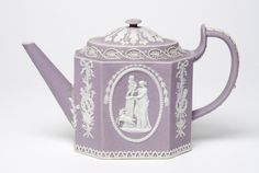 Jasperware Teapot Made by the Wedgwood factory c. Wedgewood China, Wedgwood Pottery, Philadelphia Museum Of Art, Teapots And Cups, All Things Purple, Purple Lilac, Antique China, Coffee Set, China Porcelain