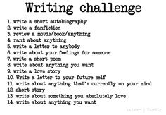 Writing Challenge to help spark your creativity Writing Prompts For Writers, Creative Writing Prompts, Book Writing Tips, Writing Help, Writing Ideas, Writing Memes, Essay Writer, Sentence Writing, Kids Writing
