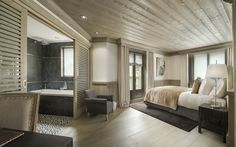 Chalet White Pearl is an oasis of cool in Val d'Isère, France. A luxury ski chalet from Firefly Collection. Bedroom Furniture Design, Luxury Ski Chalet, House Design, Hotel Suite Luxury, Home Bedroom, New Bedroom Design, Bedroom Design, House Rooms, Attic Master Suite