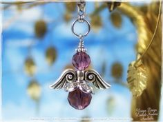 Amethyst Angel Charm  Zipper Pull Pendant Necklace by Our Bead Box, $9.00