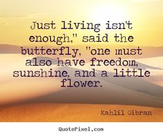 """Kahlil Gibran poster quote - Just living isn't enough,"""" said the butterfly, """"one must also have.. - Friendship quotes"""