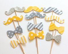 12 décorations pour gâteaux et cupcakes, thème moustache et noeud papillon