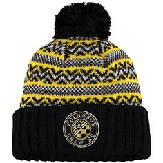 huge selection of 75130 93340 Men s Columbus Crew SC Mitchell   Ness Black Jacked Pom Cuffed Knit Hat,  Sale   19.99 - You Save   5.00