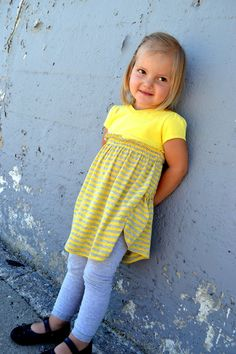 Loving this easy shirred t-shirt dress from A Lemon Squeezy Home