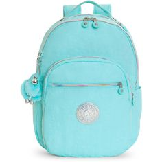 Kipling Seoul Large Laptop Backpack ($129) ❤ liked on Polyvore featuring bags, backpacks, fresh teal, kipling backpack, kipling, kipling rucksack, backpack bags and laptop rucksack