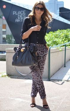 leopard trousers and black shirt work outfit