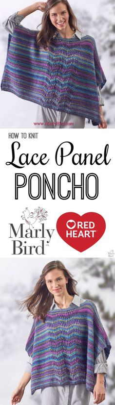 Learn how to knit the Lace Panel Poncho with this free pattern from Red Heart Yarns & Video Tutorial by Marly Bird!