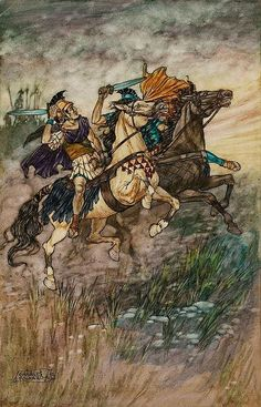 CHARLES FOLKARD (American, 1878-1963) These Two Brave Men Met and Fought, 1911 Pen, ink, and watercolor on paper 13 x 8 in. Signed lower left This illustration was reproduced as the color plate opposite page 454 in Coriolanus from The Children's