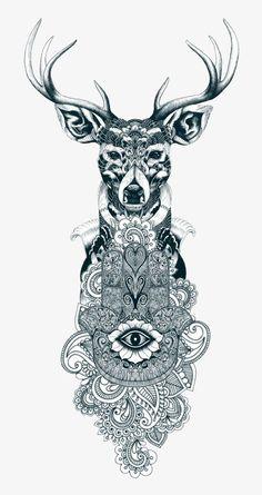 I love the hamsa/mandala combination, but without the deer Beautiful Tattoos, Cool Tattoos, Tatoos, Tribal Tattoos, Mandala Design, Mandala Animal, Mandala Tattoo Mann, Hand Der Fatima, Hirsch Tattoo