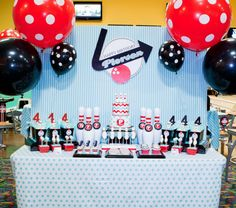 cute bowling party! shows great set-up ideas for doing it at an actual bowling alley