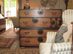 Japanese Tansu Chest (1 chest stacked on another. Each chest has handles for easier moving)
