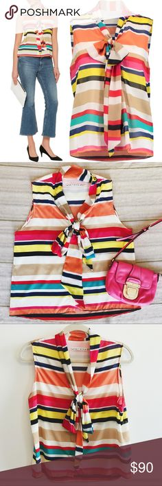 Alice + Olivia Pussy-Bow Striped Silk Blouse Alice + Olivia Indira pussy-bow striped silk-chiffon blouse. Colorful stripes. Bow to tie in front. Like new condition! No flaws. 90% silk. Currently on The Outnet for $144, originally priced at $288. Size small. Alice + Olivia Tops Blouses