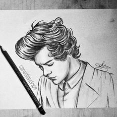 One Direction Fan Art, One Direction Drawings, Easy Drawings Sketches, Love Drawings, Art Drawings, Amazing Drawings, Harry Styles Dibujo, Harry Styles Drawing, Easy Pencil Drawings