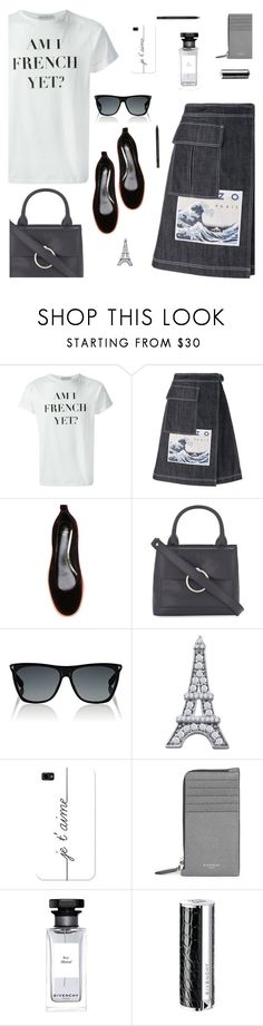 """Am I French yet?"" by molly2222 ❤ liked on Polyvore featuring Être Cécile, Kenzo, Lanvin, Claudie Pierlot, Givenchy, BillyTheTree, Casetify, Yves Saint Laurent and denimskirts"