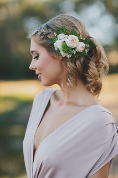 Braid with floral accent. Floral Design: Soul Full Bloom. Hair: Sophie Knox. Photography: Vanessa Norris Photography - www.vanessanorrisphotography.com  Read More: http://www.stylemepretty.com/australia-weddings/2014/06/26/french-country-bridal-shoot/