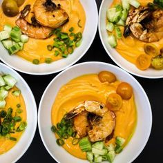 Marcona Almond Gazpacho with Grilled Shrimp