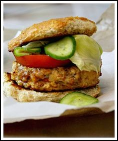 Chicken chorizo burger with cumin lime quick pickles. This one is for the chicken burger doubters.