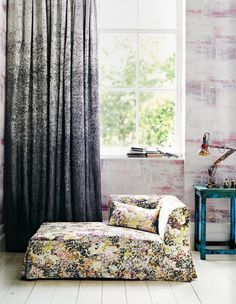 Jessica Zoob fabrics and wallcoverings for Romo Black Edition - Loving these curtains (via Decor8)