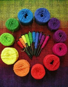 The color wheel *Rainbow yarnies Rainbow Art, Rainbow Colors, Vibrant Colors, Taste The Rainbow, Over The Rainbow, World Of Color, Color Of Life, Composition Photo, Craft Font